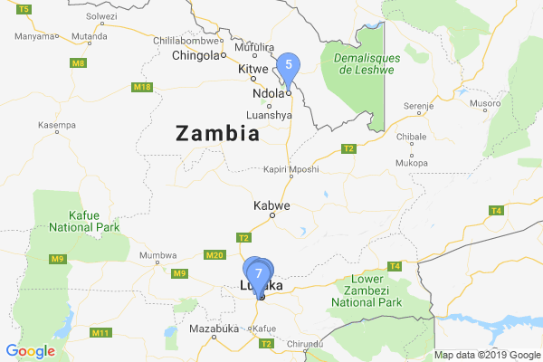 Top Providers - Location Map for Zambia